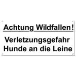 Warnschild: Achtung Wildfallen