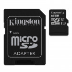 KINGSTON Mikro SD Speicherkarte 16 GB mit Adapter