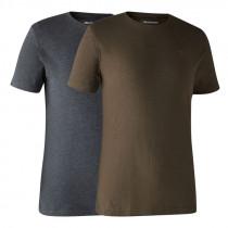 DEERHUNTER T-Shirt Doppelpack Basic brown leaf