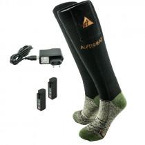 ALPENHEAT Beheizbare Socke Wolle schwarz/grün