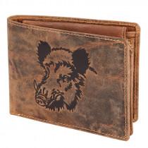 AKAH Geldbörse Keilerkopf im Querformat aus Antik-Leder