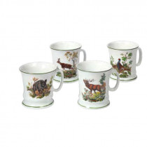FRITZMANN Kaffeehäferl Set (4 Stück) mit verschiedenen Jagdmotiven
