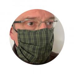 Mund-Nasen Maske grün kariert