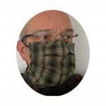 Mund-Nasen Maske braun kariert